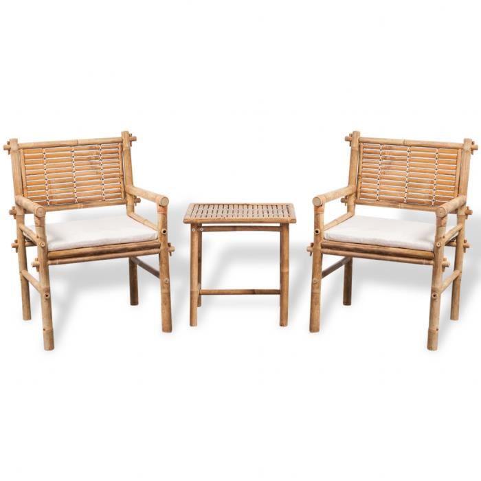 vidaXL Jeu de mobilier de jardin 5 pièces en bambou