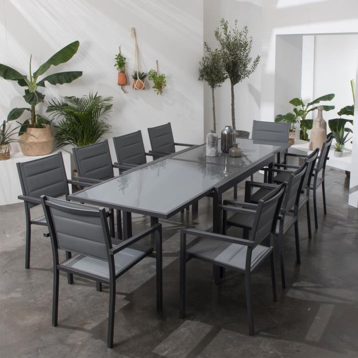 Salon de jardin LAMPEDUSA extensible en textilène gris 10 places ...