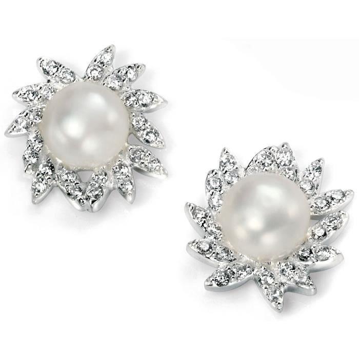 Mon-bijou - D4878 - Boucle doreille perle et zirconium en argent 925-1000