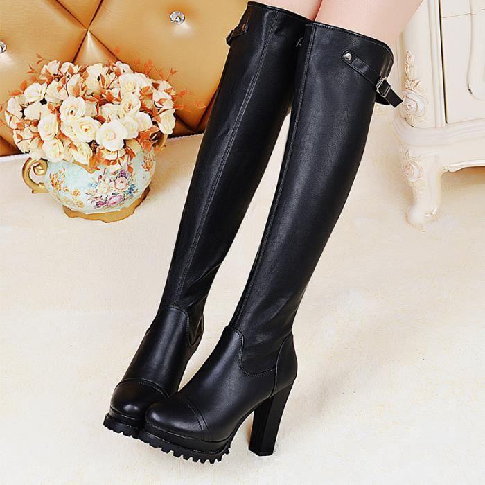 Noir Longs Bottes / Bottes d'hiver Femme In bottes en cuir véritable chevalier