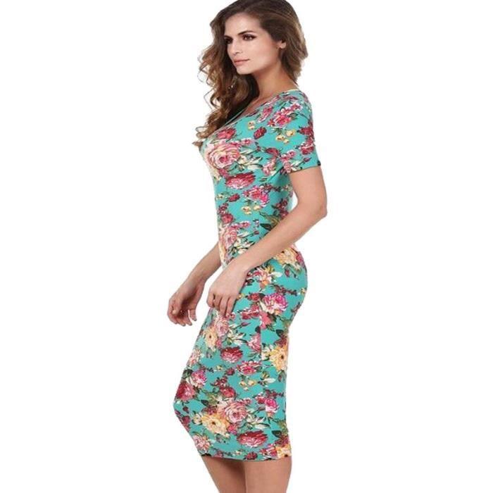 F.M.Q Robe femmes Slim élégant à fleurs manches courtes
