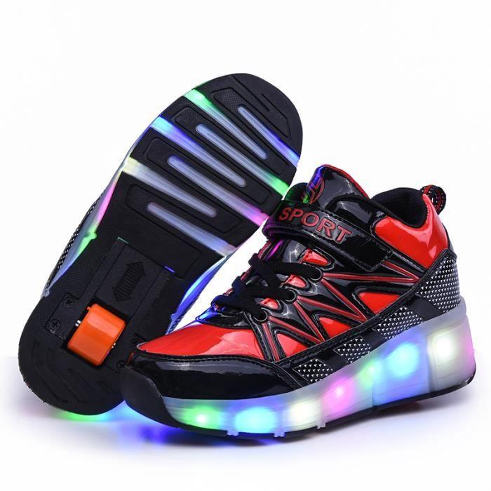 Enfants heelys Chaussures roulette Baskets -LED lumiere clignotant - Enfants garçon fille Sneaker