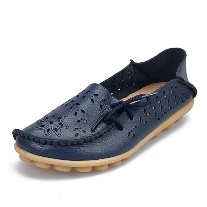 Moccasin femme Poids Léger Antidérapant Durable Luxe Chaussures Respirant Creux-sculpté Bowknot Classique Grande Taille s13JfK