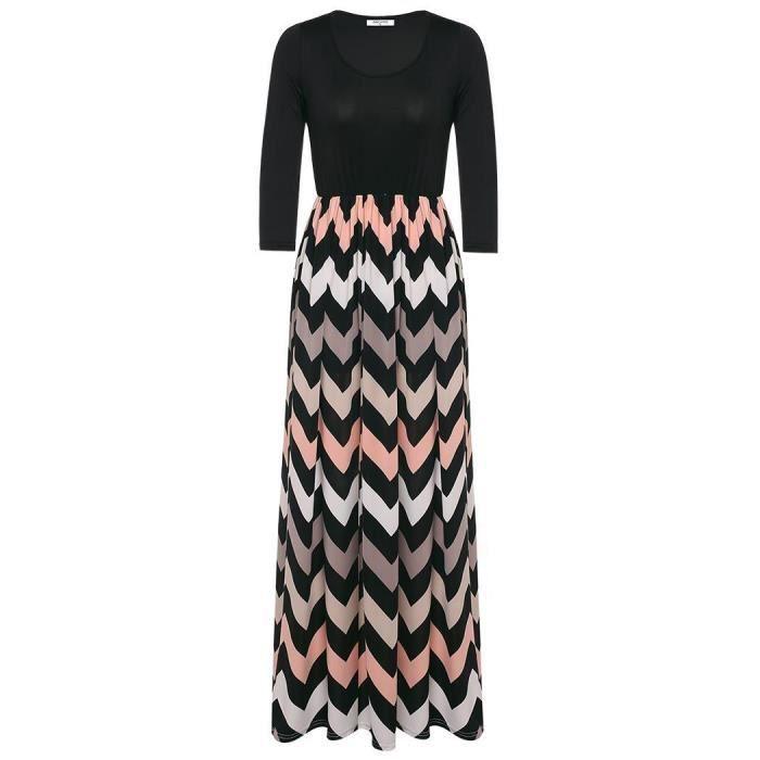 Femmes robe couleur de contraste occasionnel mode manches 3-4 rayé