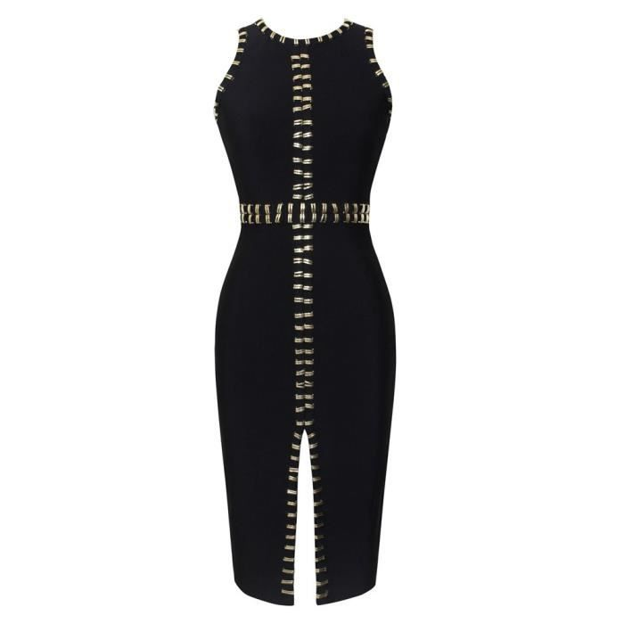 Womens Sleeveless Round Neck Studded Bodycon Bandage Dress With Front Split 2IHTCO Taille-32