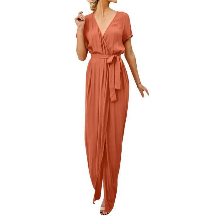 51bdcf4142c femme Décolleté en V Casual Maxi Robe de soirée longue soirée Ladies Robe  portefeuille Sun Orange