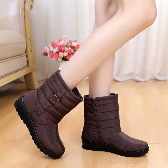 Bottes Bottine Chaud Femmes Chaussures Femme Casual Moyen Hiver Boot Neige aged Marron 4wpSxqq8