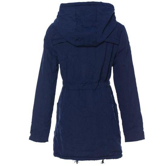 Womens D'hiver Long Manteau Parka Outwear Veste Slim À Col Chaud Marine Capuche Manteaux qEzrE