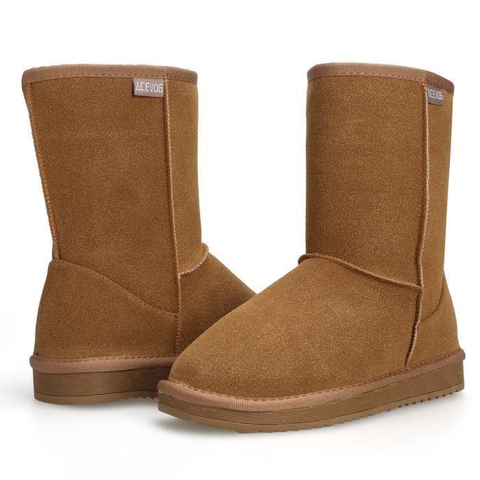Bottes hiver chaud fausse fourrure neige bottines de chaussures plat Casual femmes
