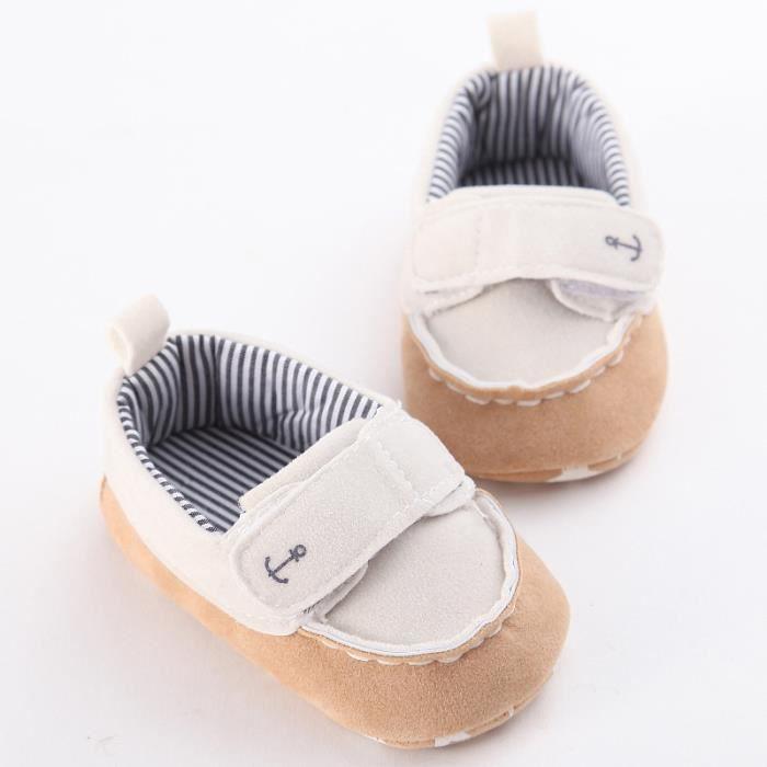 Hiver Bébé Nouveau Chaussures Loisirs Fond mou Velcro Chaussures de bébé en bas âge-Blanc