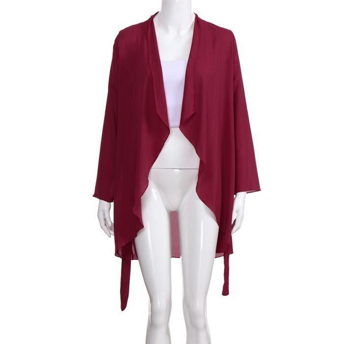 Tops À Manteau Rouge Cardigan Les De Femmes Pardessus Irrégulier Manches Longues Mousseline Soie En Col 5x7qPS
