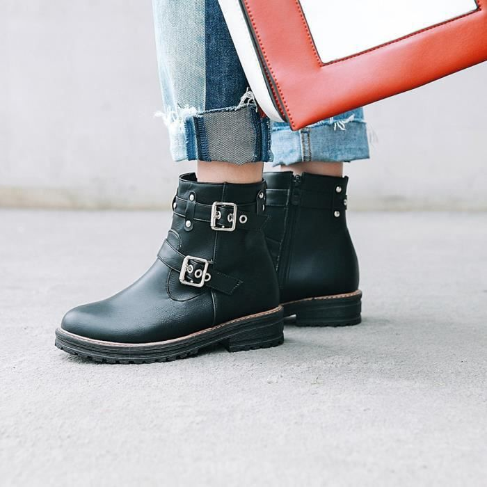 Chaussures Bottes Couleur Tube Solide wll5096 En Plates Martin Loisirs Cuir Boucle Femmes Court ZYxcwqE6Py