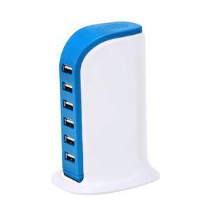 CHARGEUR TÉLÉPHONE Bleu Multiple Chargeur USB Intelligent 6 Port Char