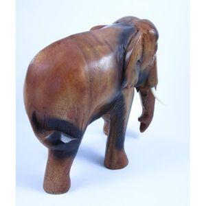 STATUE - STATUETTE Eléphant sculpté en bois de Suar 23X22