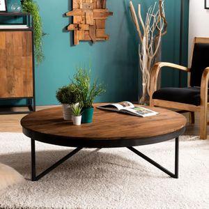 TABLE BASSE Table basse ronde 110 cm en teck recyclé pieds mét