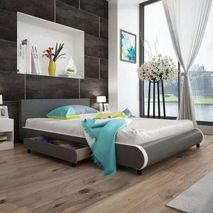 STRUCTURE DE LIT Luxueux Magnifique Lit avec 2 tiroirs 140 x 200 cm