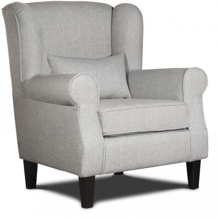 fauteuil confortable en tissu gris prince achat vente fauteuil gris cdiscount. Black Bedroom Furniture Sets. Home Design Ideas