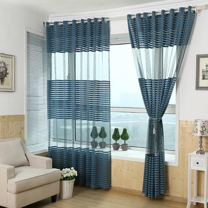 1pcs rideaux salon balcon stripe tulle rideaux 100x200cm bleu achat vente rideau cdiscount - Rideaux salon decoration ...
