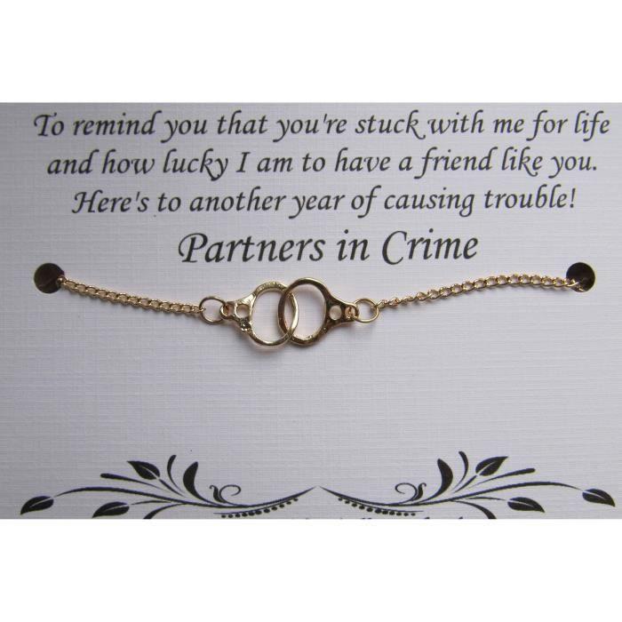 Women menotte Partners in Crime Bracelet - Bracelet Amitié - interurbaine meilleur ami - Bes B6FJH