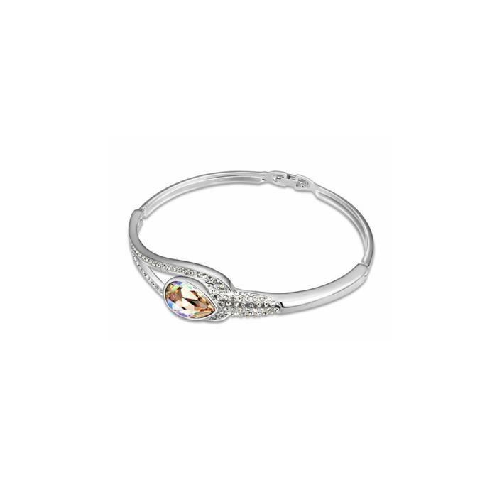 Bracelet Bangle en Cristal de Swarovski Element Blanc et Plaqué Or Blanc