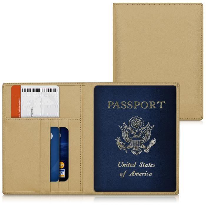 kwmobile Étui pour carte d'identité étui pour cartes de credit chemise étui en cuir synthétique en doré