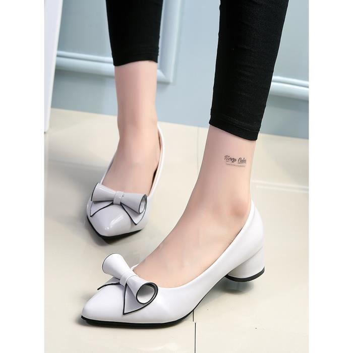 Escarpin Femmes Pompes Vogue Patent Décor Fleur solide de travail Chaussures 3575694 qdbSLp