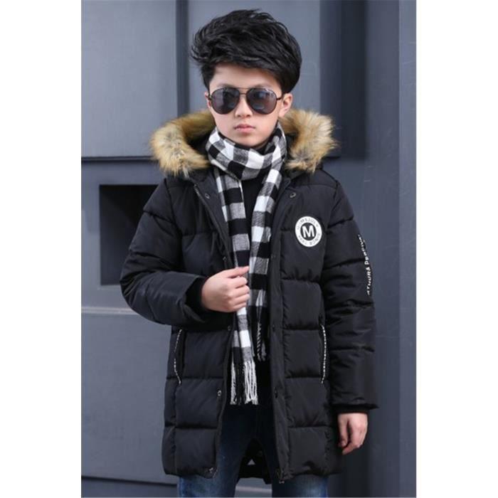 e5b3d950b2284 Manteau Long Enfant Garçon Bébé Hiver Doudoune Veste Capuche Hoodie Blouson  Fourrure Fausse Jacket