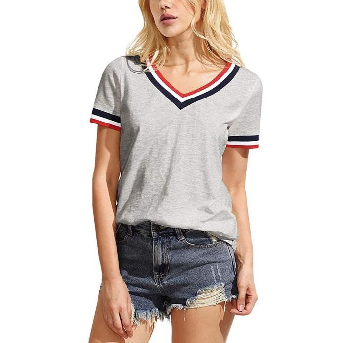 Mode Tee Été Tops Shirt Courtes Col Manches T Hauts Blouses Casual Rayure V Femme Minetom YH2IW9ED