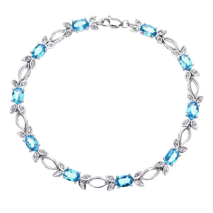 Revoni - Bracelet en or blanc 9 carats, topazes bleues et diamants- REVCDPBC02881WBT