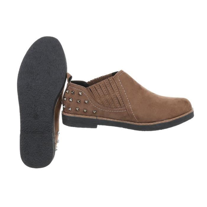 Dandy Low Chaussures pour femmes | Brogues Slip on | chaussures Slipper | Chausson métallique | Low flâneurs rivet | Mesdames