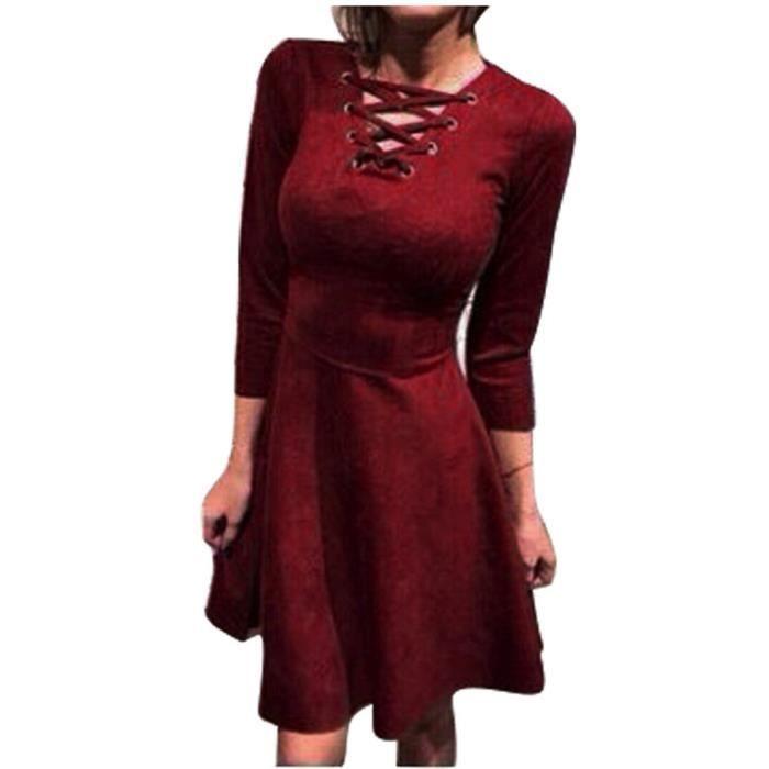 Plein Encolure Manches Robe Capsdao702 Courte Casual Moitié V Laceup En Party Femmes qZItEfOwxn