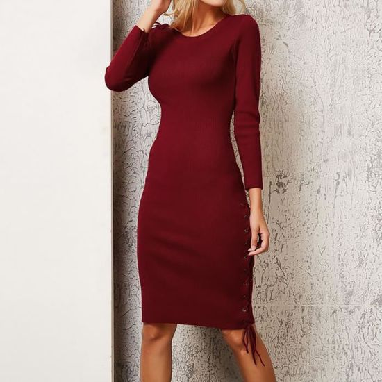 a2e63fc1428 Femmes Robe d hiver sexy manches longues solide Bandage pull en tricot Pull  Robe  Vin rouge Rouge Vin rouge - Achat   Vente robe - Cdiscount