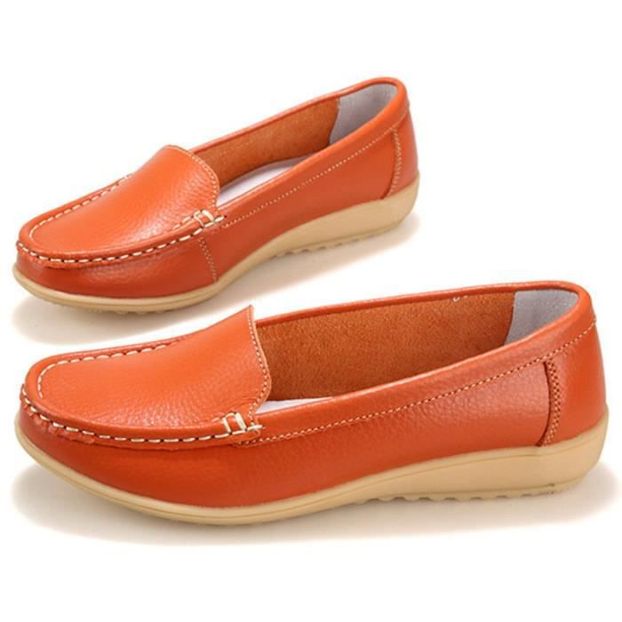 Genuine Leather Driving Shoes Casual Loafer Flats Boat Shoes SY1QG Taille-39 1-2