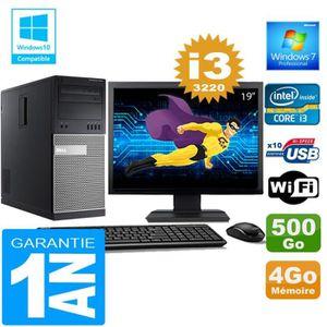 UNITÉ CENTRALE + ÉCRAN PC Tour DELL 7010 Core I3-3220 Ram 4Go Disque 500