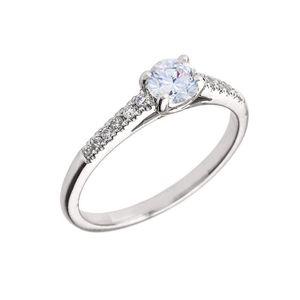 BAGUE - ANNEAU Bague Femme 10 Ct Or Blanc Diamant Et Blanc Topaze