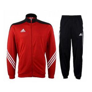 3a9b40668f8 SURVÊTEMENT Jogging Adidas Climalite Noir et Rouge Homme