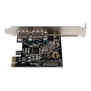 CARTE RÉSEAU  Carte PCIe à 2 ports USB 3.0 - Alimentation SATA -