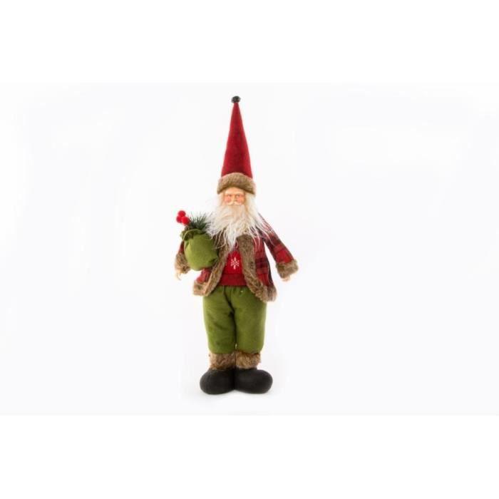 Personnage de Noël Père Noël en tissu 28x10x48cm