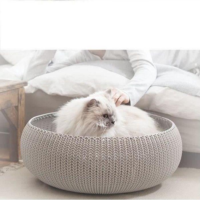 Panier de couchage rond aspect tricot Cozy Pet Bed - Facile à nettoyer - Pour chats et petits chiens.CORBEILLE - PANIER - COUSSIN - HAMAC - LIT