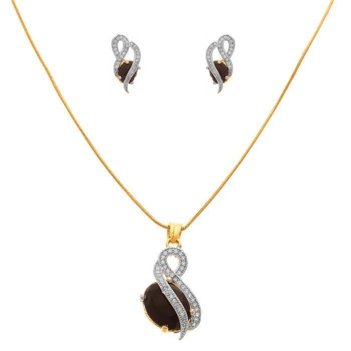 Femmes Jfl - Fusion ethnique un gramme dor plaqué Cz Designer américain Diamant Ensemble de pierres pendentif pour RUKAD