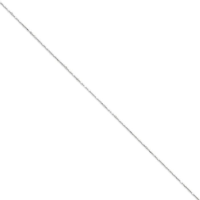 Or blanc 14 carats D-Cut de 1 mm à chaîne 20 cm-anneau à ressort
