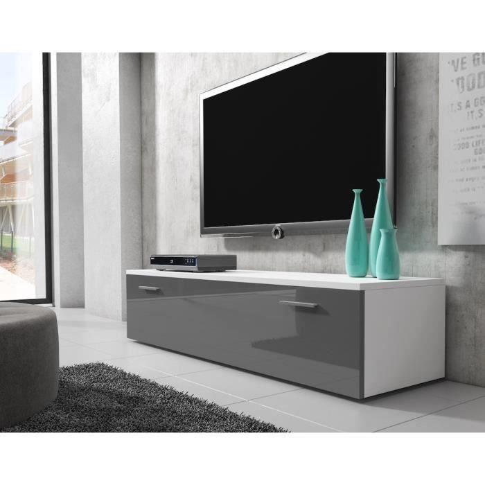 Boston meuble tv contemporain d cor blanc et gris 150 cm for Meuble tv blanc et gris