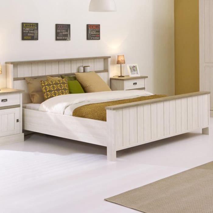 STRUCTURE DE LIT Lit contemporain couleur chêne blanc YUKA L 180 x