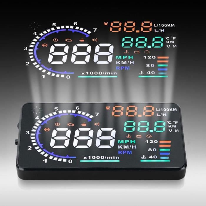 """A8 5.5 """"HUD Car Head Up Affichage Pare-brise Projecteur Véhicule OBD II Vitesse Avertissement Car Driving Diagnostic des données"""