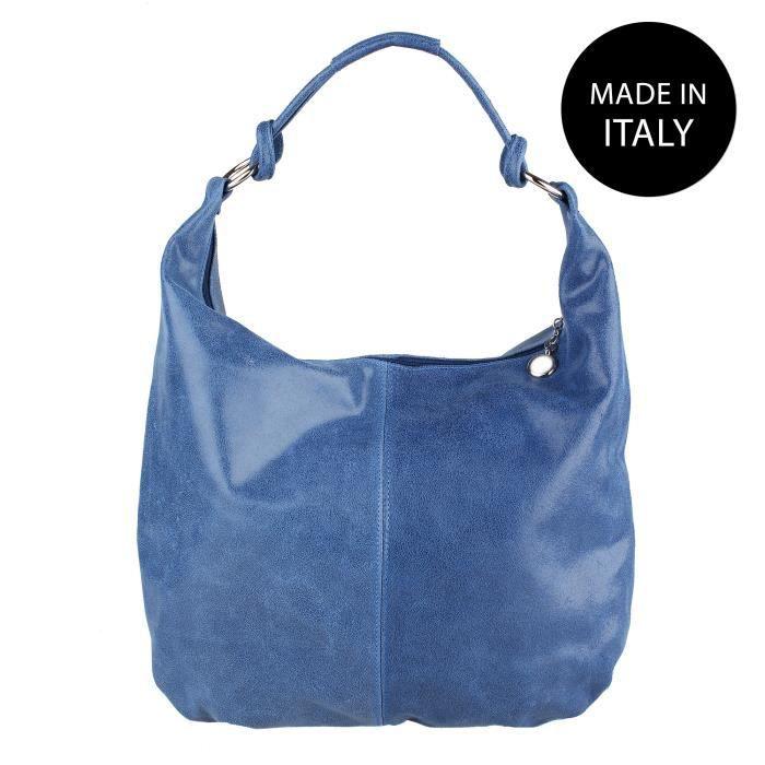 CHICCA BORSE Sac pour Femme en cuir imprimée made in Italy Jean bleu 45x35x4 cm