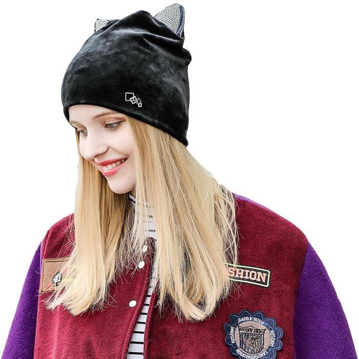 Bonnet Velours Femme Chapeau élasticité Hiver Cap Décoration strass Hats  Chat Oreilles-Noir 32162f7027e