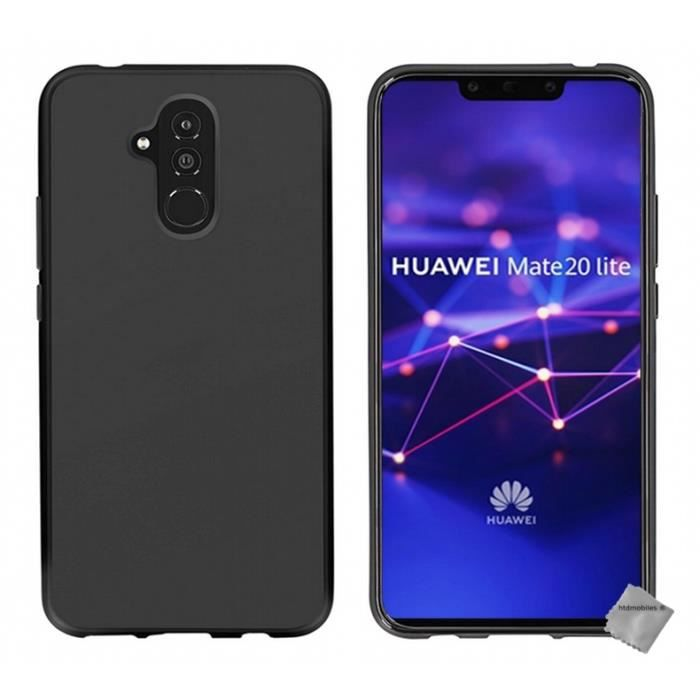 the latest fast delivery innovative design Coque silicone gel fine pour Huawei Mate 20 Lite + verre trempe - NOIR