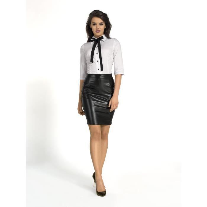 jupe courte simili cuir taille haute noir km105 36 noir achat vente jupe cdiscount. Black Bedroom Furniture Sets. Home Design Ideas