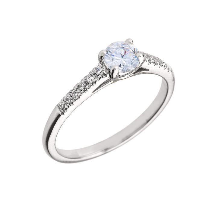 Bague Femme 10 Ct Or Blanc Diamant Et Blanc Topaze
