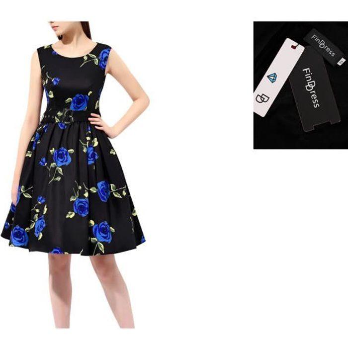 finddress versionb r tro vintage robe ann e 40 50 60 impression de rose robe rockabilly grande. Black Bedroom Furniture Sets. Home Design Ideas